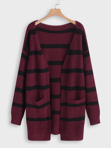 Plus Size Burgundy Stripe Pattern Cardigan