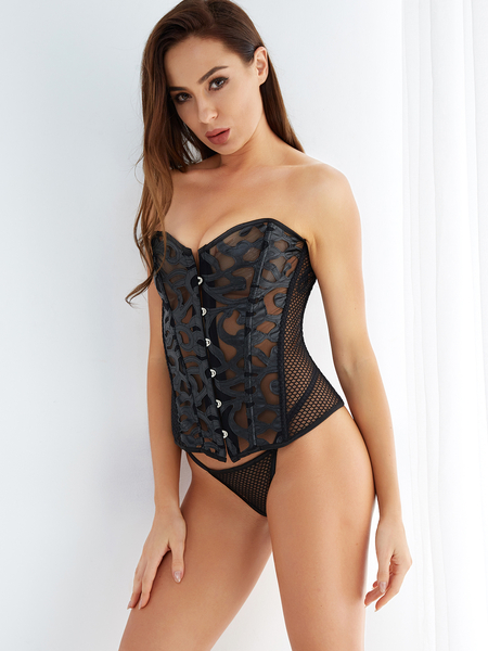 Black Push Up Lace-up Back Hollow Out Fishnet Corset with T-thong