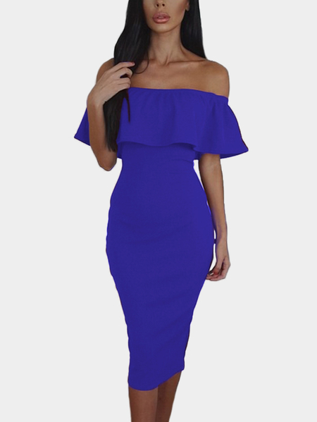 Blue Flounced Trim Slit Design Off Shoulder Short Sleeves Sexy Dress