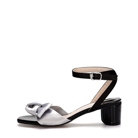 Ankle Strap Block Heel Sandals With Grey Bowknot Embellishment
