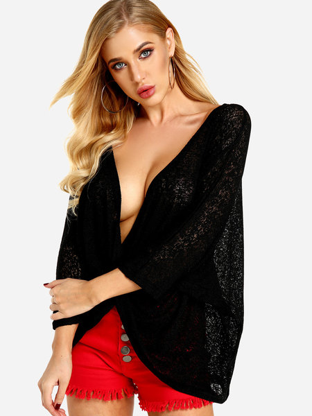 Black Crossed Front Design V-neck Bat Sleeves Blouses