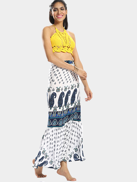 Tribal Print Bohemia Style Self-Tie Flounced Hem Maxi Skirt с многоуровневым рисунком