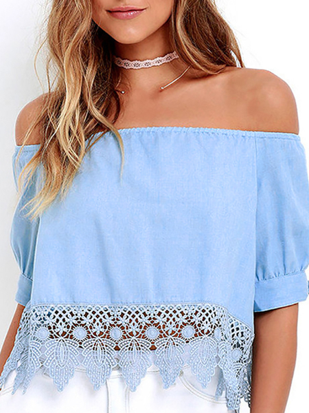 Off Shoulder Crochet Lace Oco Out Top