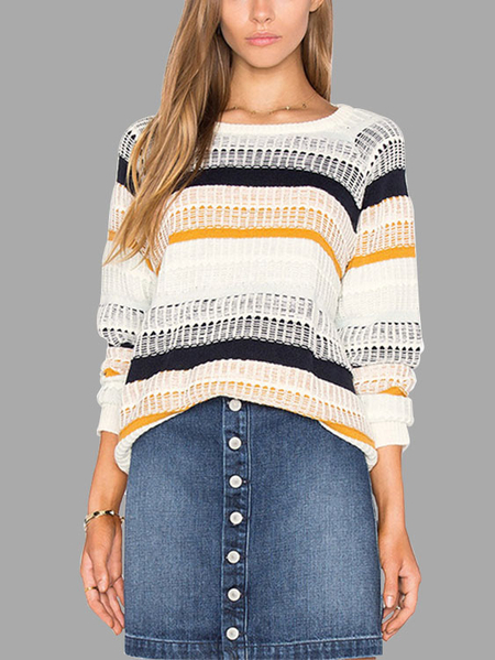 White Minimalism Loose Stripe Crew Neck Raglan Sleeves Sweater