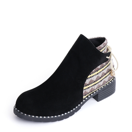 Black Suede Stitching Design Ankle Boots