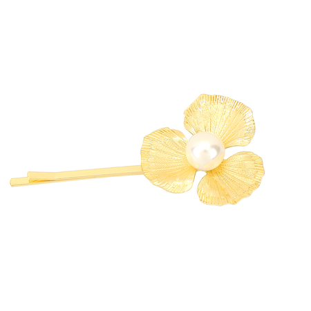 Flower Pearl Hair Clip in Gold