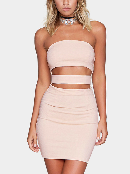 Cutout Tube Design Zip Back Mini Bodycon Dress