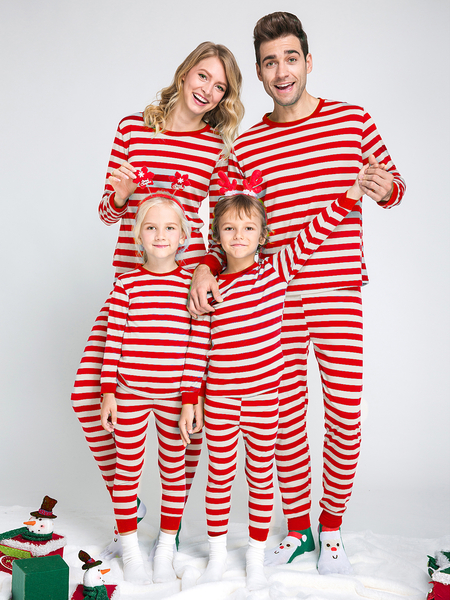 Red Stripe Pattern Bodycon Family Matching Christmas Pajamas Sets