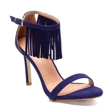 Blue Tassel Embellished High Stiletto Heels