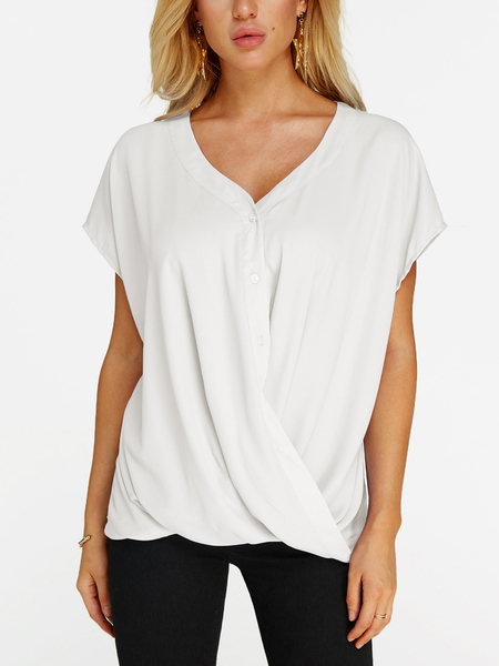White Crossed Front Design V-neck Short Sleeves Blouse