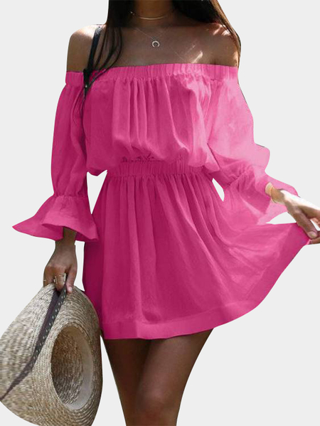 Rose Off-the-shoulder Mini Dress