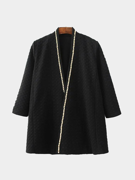Black Trench Coat With Pearls Chain