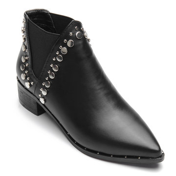 Black Rivet Embellished Pointed Toe Short Boots