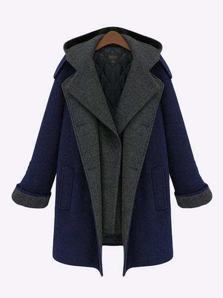 Blue Causal Hoodie Side Pocket Double Breasted Long Sleeves Coat