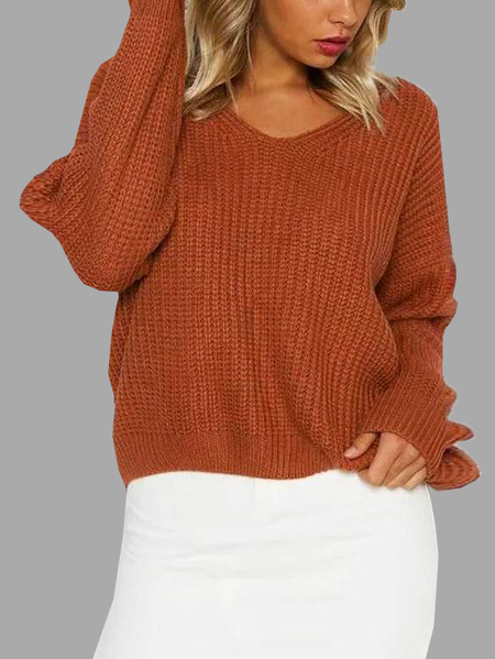 Khaki Lace-up Back & V Neck Knitted Sweater