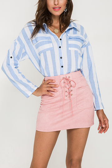Blue Striped Pattern Classic Collar Single Button Shirts