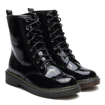 Black Patent Leather Lace-up Design Botas Curtas