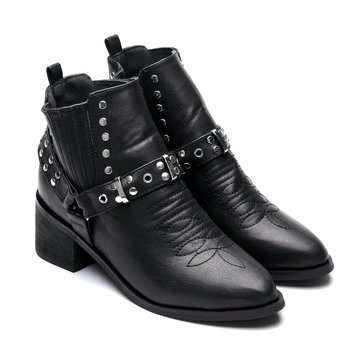 Black Studded Block Heel Ankle Boots