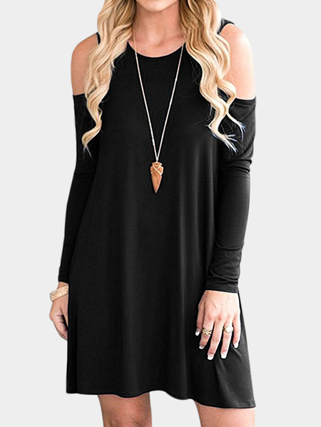 Black Side Pockets Cold Shoulder Long Sleeves Dresses