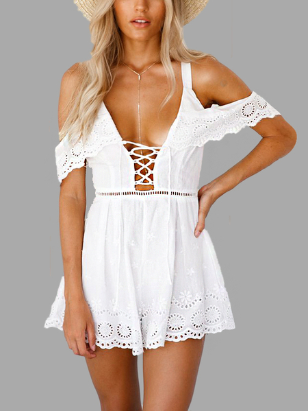 Fashion Cold Shoulder Lace-up Playsuit In White