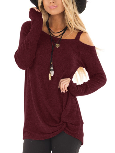 Burgundy Crossed Front Design Plain One Shoulder Long Sleeves T-shirts