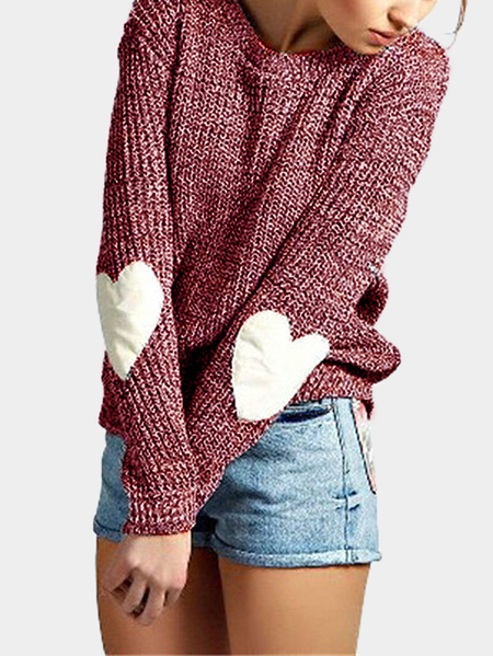 Burgundy Round Neck Love Patchwork Sweater