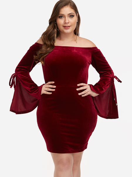 Plus Size Burgundy Off Shoulder Mini Dress