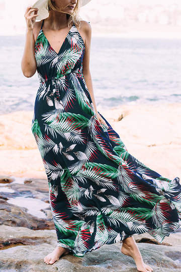 Navy and Green Tropical Leaves Printed Maxi Dress