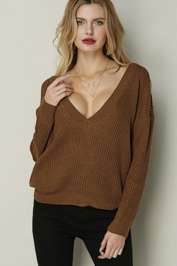 Coffee Sexy Backless Ribbed Jumper