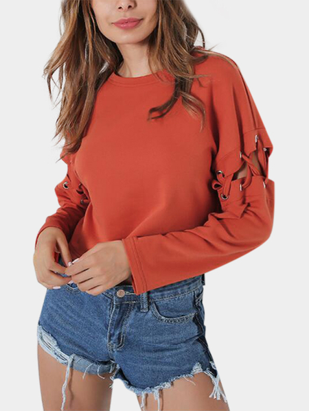 Orange Cut Out & Lace-up Design Round Neck Long Sleeves Top