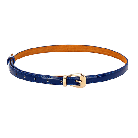 Navy Smooth Leather-look Skinny Buckle Waist Belt with Metal Tip