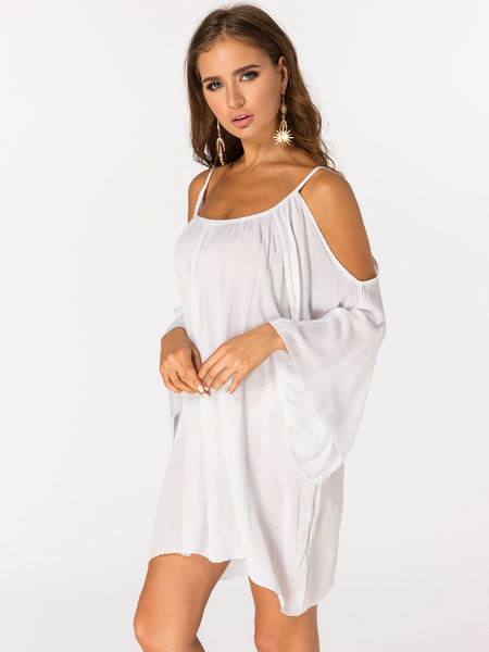White Cold Shoulder Half Sleeves Sexy Beachwear