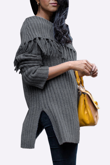 Grey Sexy Off Shoulder Tassel Detail Sweater With Splited Hem