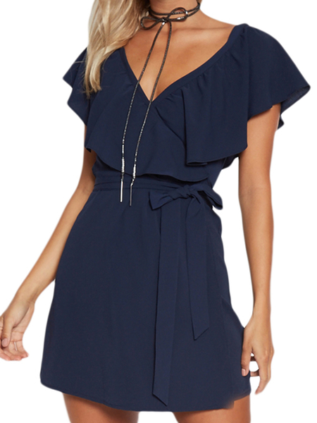 Navy V-Neck Flouced Design Auto-cravate Waist Mini-robe