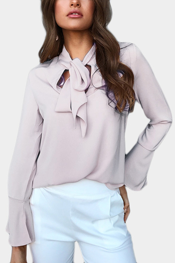 Gris Auto-cravate Design Manches Bell Blouse en mousseline de soie