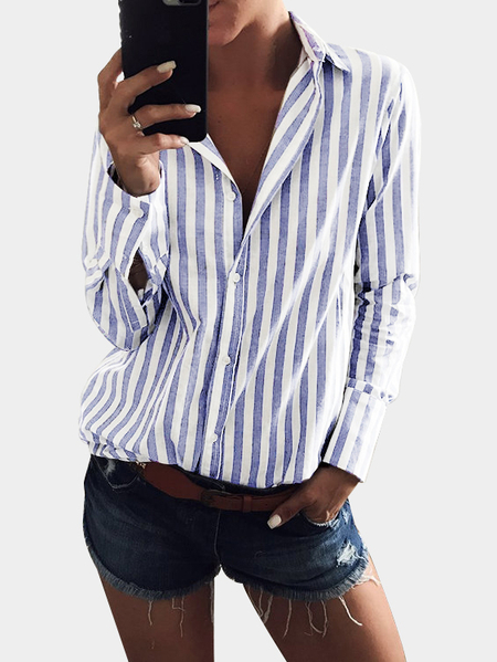 Light Blue Stripe Shirt With Irregular Hem