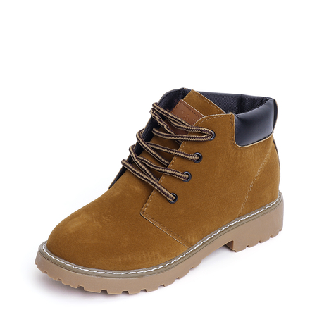 Yellow Lace-up Frosted Short Boots