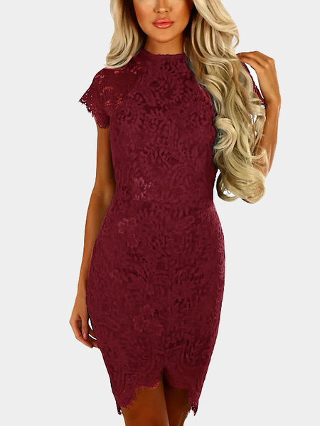 Borgonha Delicate Lace Round Neck Mangas Curtas Midi Bodycon Dress