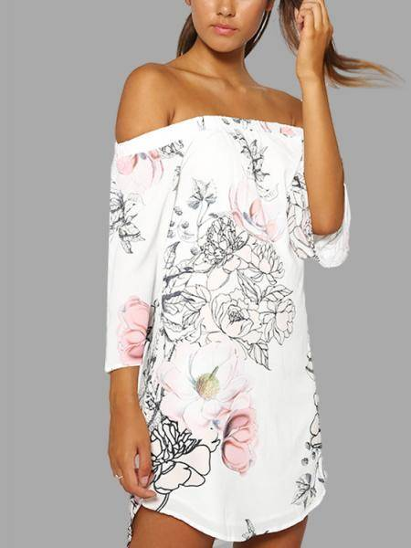 White Off Shoulder Random Floral Print Dress