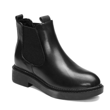 Black Elastic Design Short Boots
