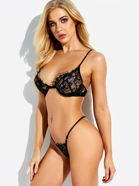 Black Lace Eyelash Trim V-neck Lingerie Set with Underwire