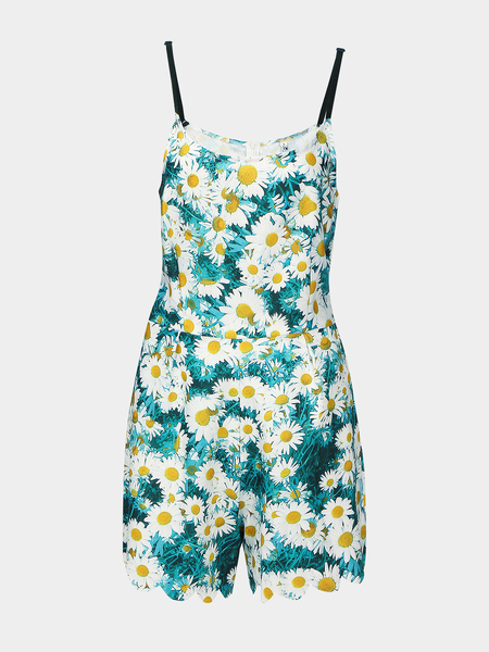 Sleeveless Playsuit in Floral Print