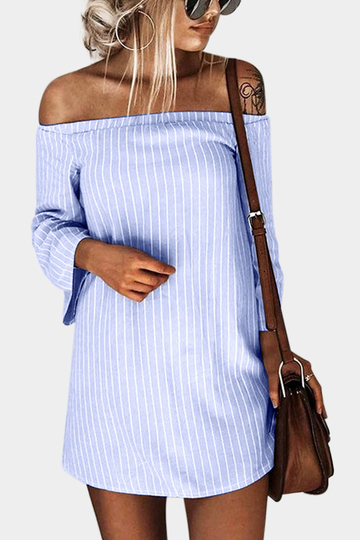 Cornflowerblue Sexy Off Shoulder Lace Up Stripe Pattern Mini dress