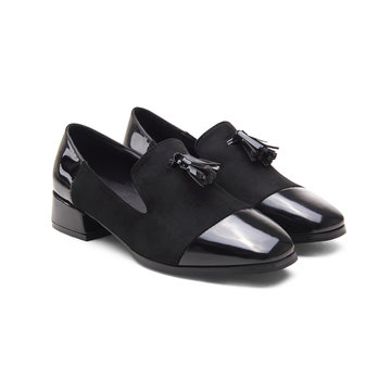 Cuir noir et maillot de mouton Carré Toe Tassel Slip-on Loafers