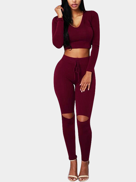 Burgundy Sexy Hooded Cropped Suit With Hole Pant