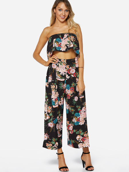 Black Floral Print Off-The-Shoulder High waist Two Piece outfits