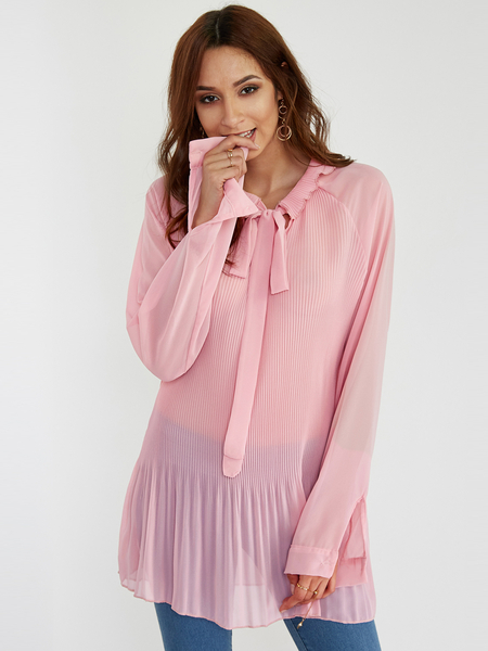 Pink Bow Front Lace-up Design Long Sleeves Pleated Blouse