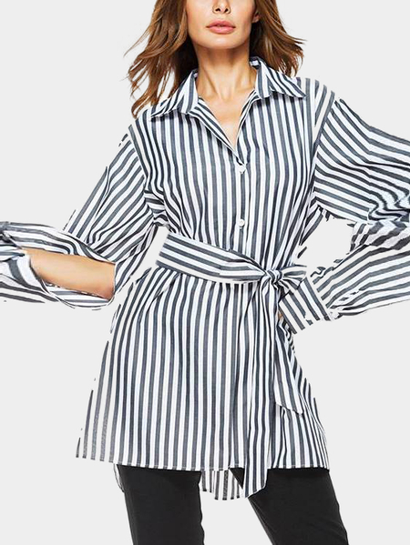 Vertical Stripes Self-tied & Cut Out Sleeves Long Shirt