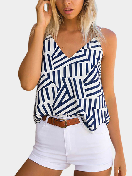 V-neck Random Stripe Pattern Cami Top in White