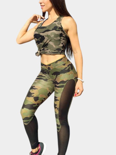 Mid-waist Camo & Mesh Bodycon Gym Leggings